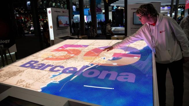Estand de 5G Barcelona en el Mobile World Congress (MWC), en una foto de archivo.