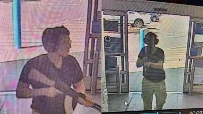 Imágenes de las cámaras de seguridad del atacante en el centro comercial de El Paso, Texas.