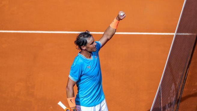 El tenista español celebra un triunfo en el Mutua Madrid Open.