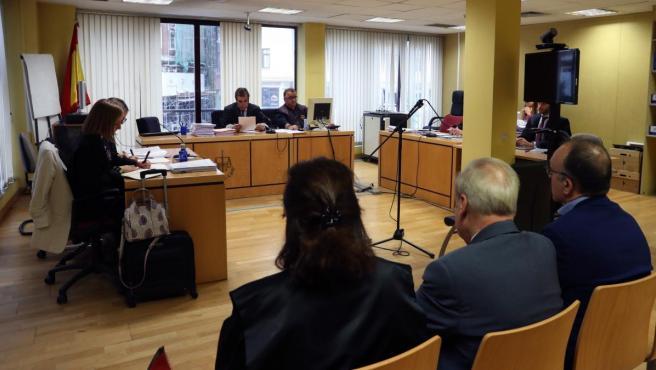 Sala del juzgado de lo Mercantil número 2 de Madrid durante la vista del caso de los horarios entre RFEF y LaLiga.