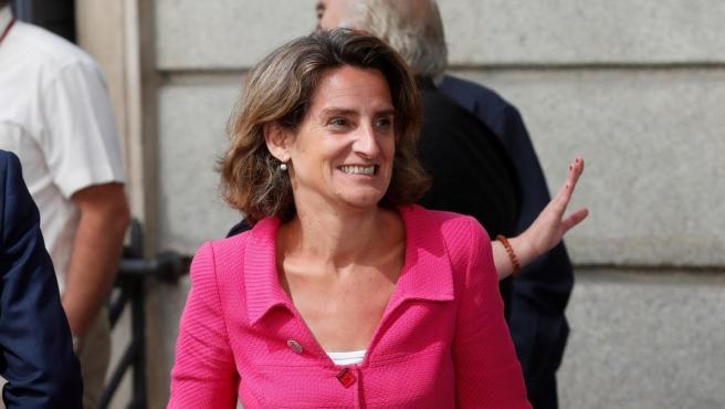 La ministra de Transición Ecológica en funciones, Teresa Ribera, a su llegada este lunes al Congreso, para la celebración de la primera jornada del debate de investidura.