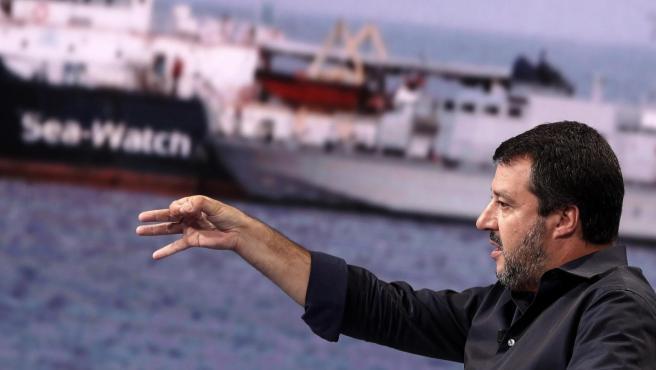 Matteo Salvini en el programa italiano 'Porta a porta'.