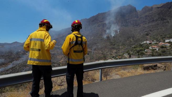 Agentes del cabildo en el incendio de Tejeda (Gran Canaria).