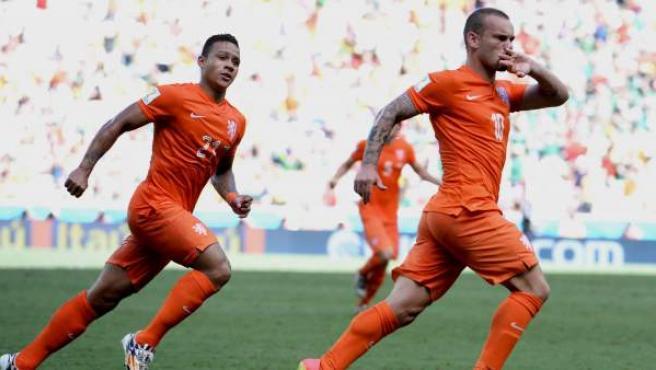 Wesley Sneijder celebra su gol ante México.