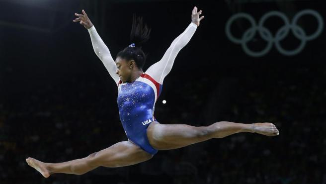 <p>Simone Biles, en los Juegos Olímpicos de Río 2016.</p>