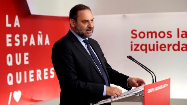 José Luis Ábalos, secretario de Organización del PSOE, valora los resultados de las elecciones del 26-M.
