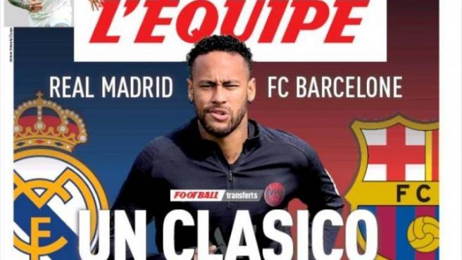 Neymar, en la portada de 'L'Èquipe'.