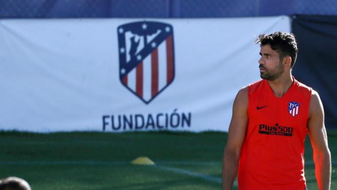 Diego Costa, durante un entrenamiento del Atlético de Madrid.