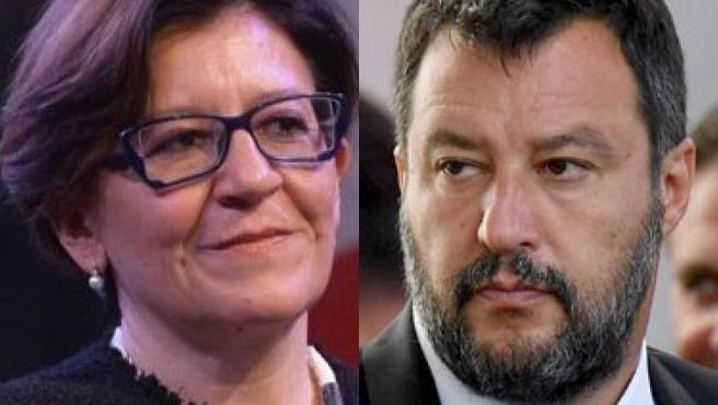 Elisabetta Trenta y Matteo Salvini.