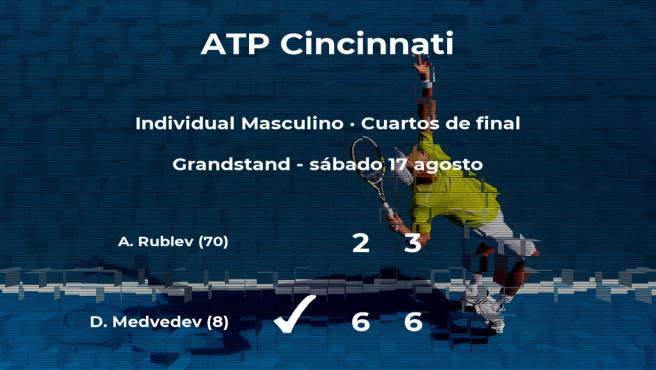 El tenista Daniil Medvedev logra clasificarse para las semifinales a costa del tenista Andrey Rublev