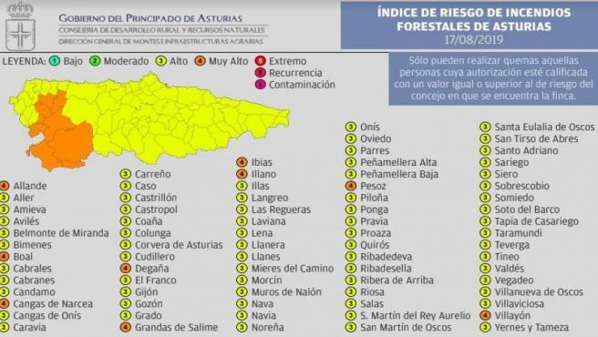 El índice de riesgo por incendios forestales para el sábado 17 de agosto.