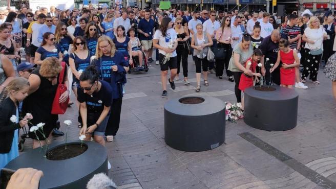 Acto en recuerdo a las víctimas del 17-A en Barcelona.