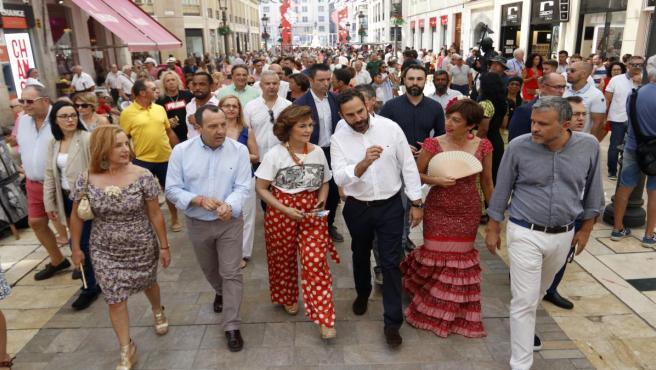 La secretaria de Igualdad del PSOE y vicepresidenta del Gobierno en funciones, Carmen Calvo, visita la Feria de Málaga con miembros del PSOE de la provincia.
