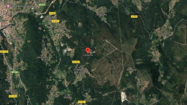Imagen vía satélite de Lousame (A Coruña).