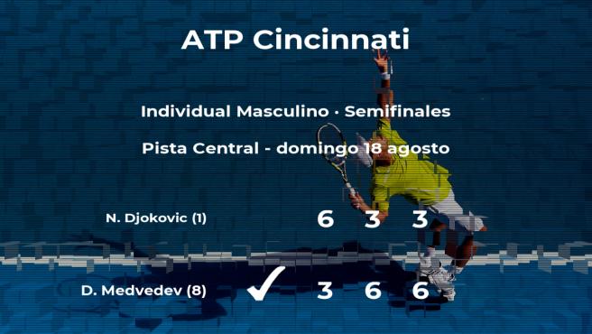 El tenista Daniil Medvedev consigue la plaza de la final a expensas de Novak Djokovic