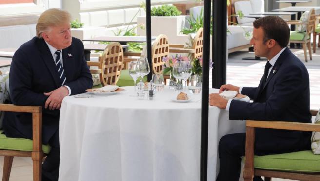 Donald Trump y Emmanuel Macron, en el Hotel du Palais de Biarritz, Francia, durante la cumbre del G7 celebrada en agosto de 2019.