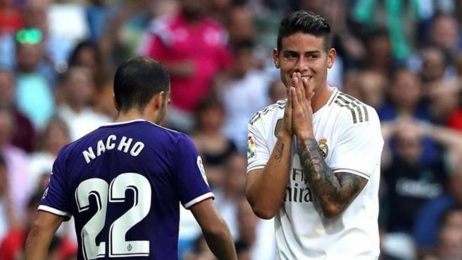 James se lamenta de una ocasión en el partido frente al Valladolid.