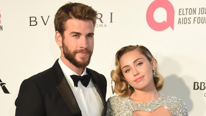 Liam Hemsworth y Miley Cyrus en marzo de 2018.