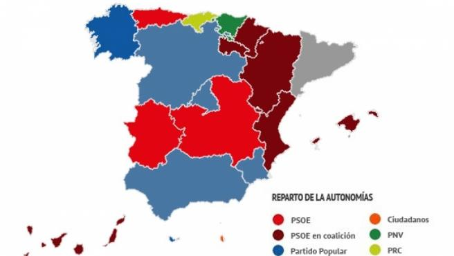 Mapa Corrupcion España 2017.La Espana Que Queda El Mapa De Los Gobiernos Autonomicos Se