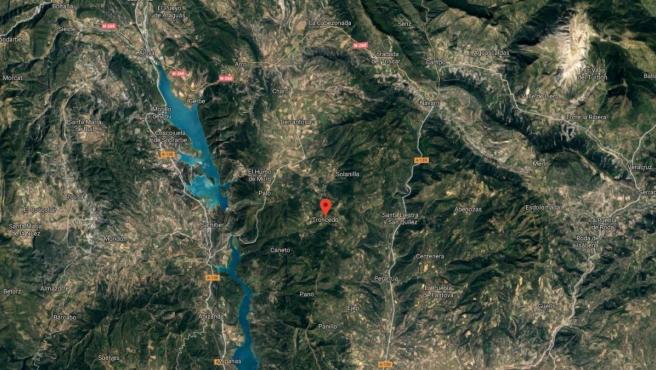 Imagen vía satélite de Troncedo, en Huesca.