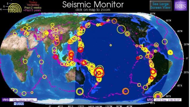 Actividad sísmica mundial.