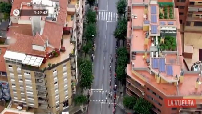 La vista aérea de Igualada en la octava etapa de La Vuelta.