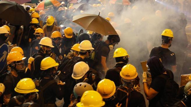 Un momento de una marcha de protesta en Hong Kong.