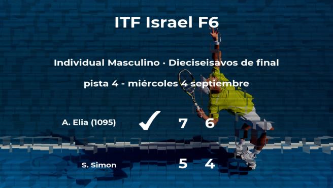El tenista Alon Elia consigue la plaza de los octavos de final a expensas del tenista Sahar Simon