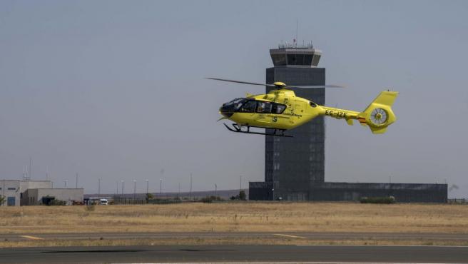 Helicóptero participante en el simulacro del aeropuerto de Ciudad Real