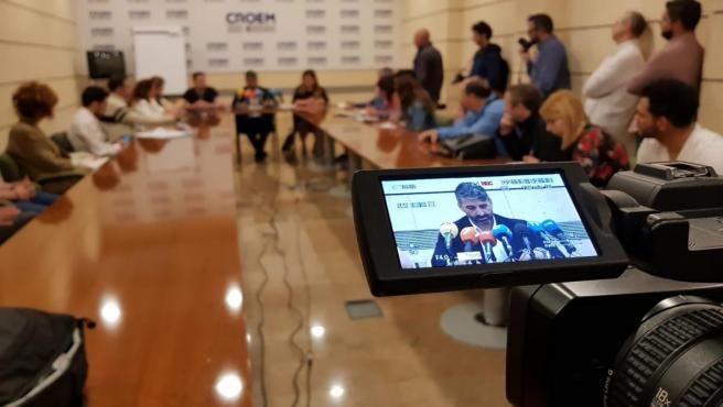 Imagen de la presentación en rueda de prensa de la iniciativa de los hosteleros. Imagen de archivo