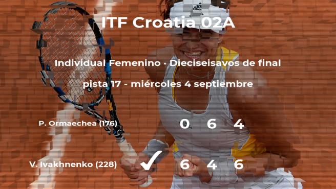 Valentyna Ivakhnenko consigue clasificarse para los octavos de final del torneo de Zagreb