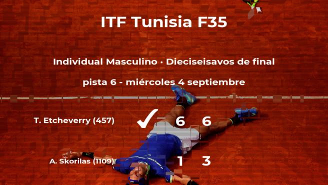 Tomas Martin Etcheverry pasa a la próxima fase del torneo de Tabarka tras vencer en los dieciseisavos de final