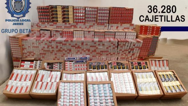 Tabaco de contrabando intervenido en Jerez