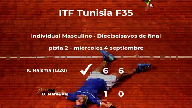 Kenneth Raisma pasa a la siguiente fase del torneo de Tabarka tras vencer en los dieciseisavos de final