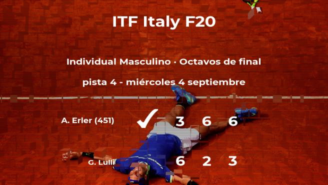 Alexader Erler consigue la plaza de los cuartos de final a expensas del tenista Gregorio Lulli