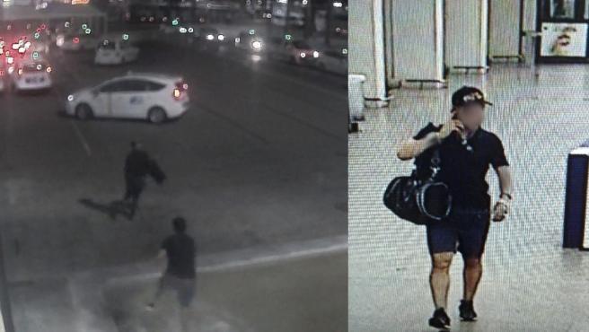 Imágenes del presunto autor de varios hurtos a turistas, captadas por las cámaras de seguridad del aeropuerto de Palma
