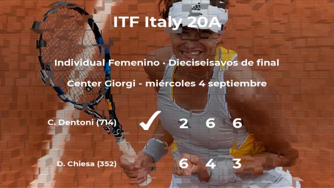 Corinna Dentoni logra clasificarse para los octavos de final a costa de la tenista Deborah Chiesa