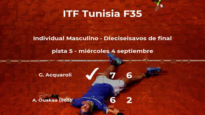 El tenista Gianluca Acquaroli consigue clasificarse para los octavos de final a costa de Aziz Ouakaa