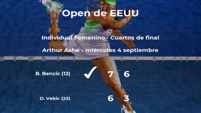 La tenista Belinda Bencic logra la plaza de las semifinales a costa de la tenista Donna Vekic