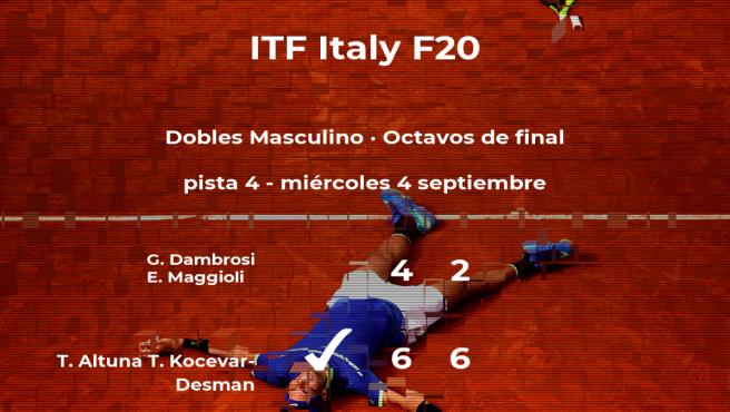 Altuna y Kocevar-Desman pasan a la siguiente fase del torneo de Trieste tras vencer en los octavos de final