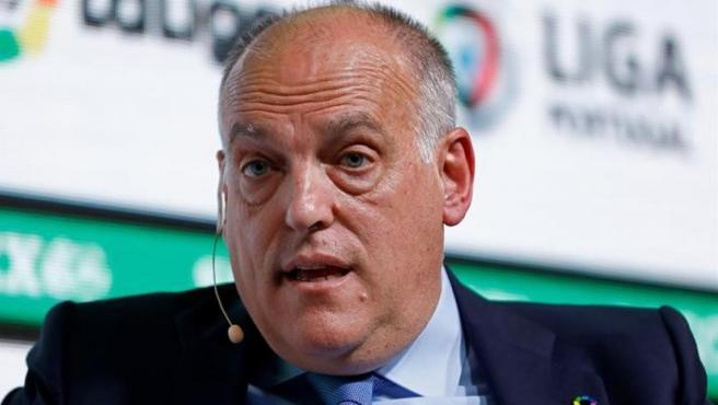 """Javier Tebas, presidente de LaLiga, durante su intervención en el """"Soccerex Europe 2019""""."""