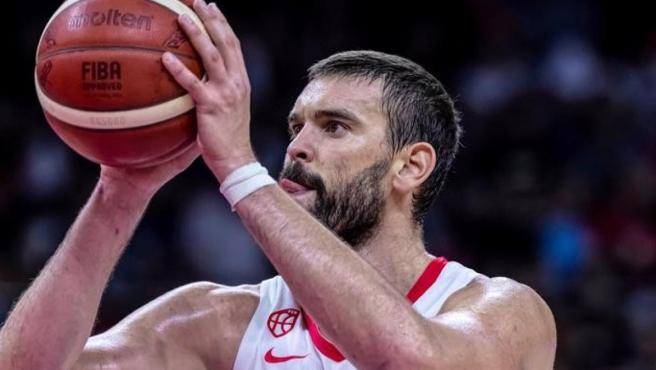 Marc Gasol durante el partido entre España e Irán del Mundial de baloncesto.