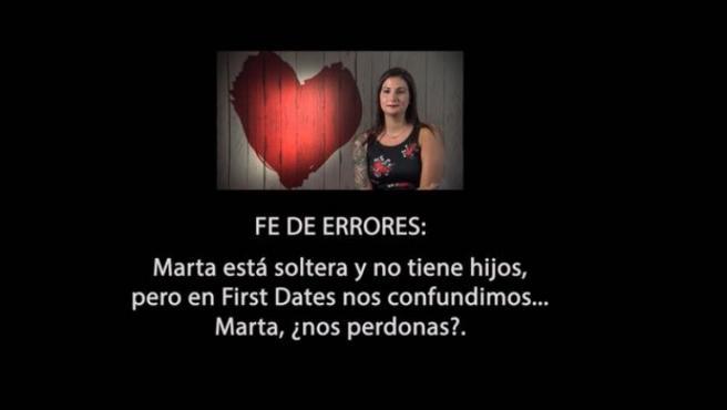 Disculpa en pantalla de 'First dates' con Marta.