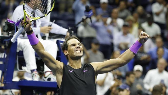 Rafa Nadal celebra su pase a la final del US Open.