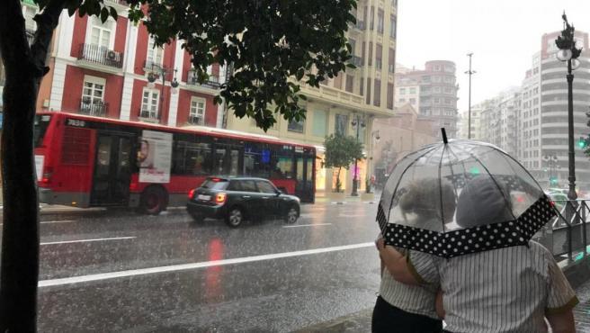 Imágenes de archivo de un día de lluvia en Valencia.
