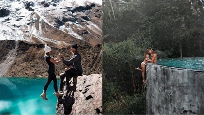 Los 'influencers' Kelly y Kody en dos de sus fotos más peligrosas.