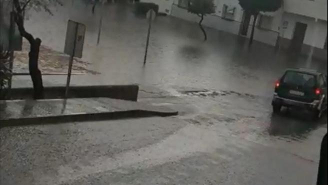 Lluvias en Nerva (Huelva) el pasado domingo.