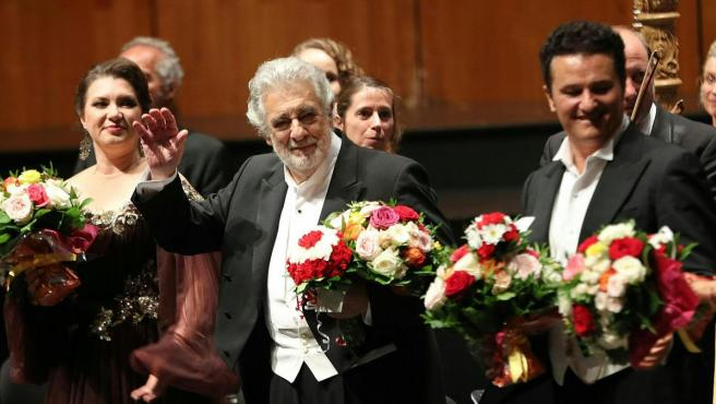 25 August 2019, Austria, Salzburg: Spanish opera singer Placido Domingo practices during the performance of 'Luisa Miller' at the Salzburg Music Festival. Photo: Franz Neumayr/APA/dpa