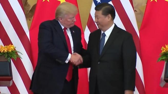 El presidente de Estados Unidos, Donald Trump, con su homólogo chino, Xi Jinping.