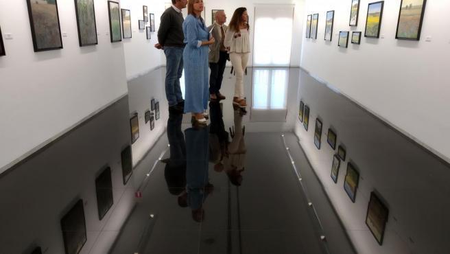 La diputada de Promoción Agroalimentaria, Inmaculada Toledano, visita la exposición 'Campo de luz' junto al artista Pablo Giménez.
